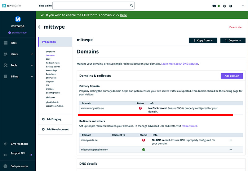 Kontrollera huvuddomänen på ditt WP Engine konto