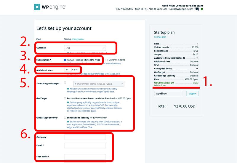 Fyll i kontouppgifter för ditt WP Engine konto