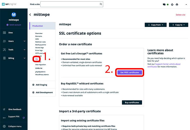 Slå på gratis SSL-certifikat från din WP Engine backend