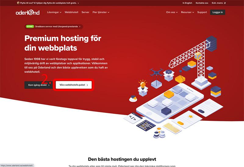 Gå till Oderland för att registrera webbhotellet