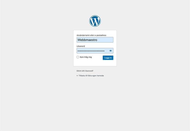Logga in på din WordPress panel