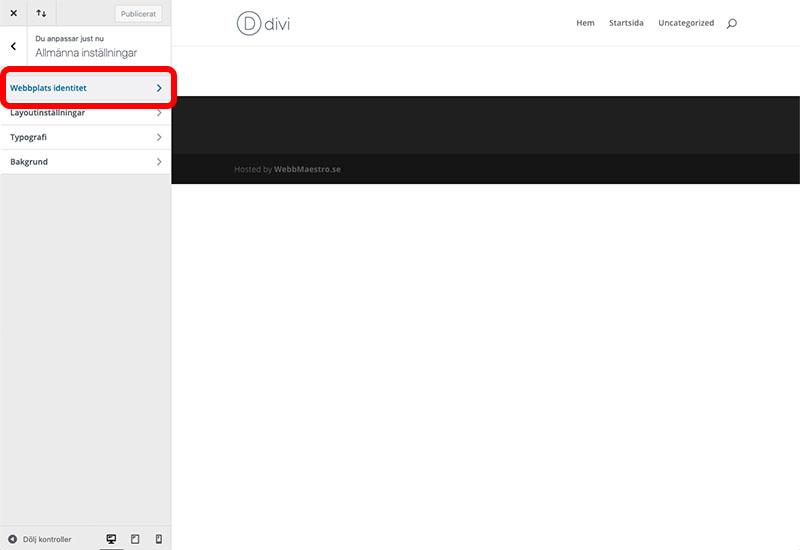 Redigera webbplatsens identitet