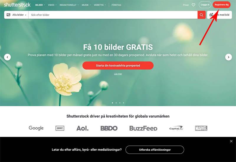 Gå till Shutterstock