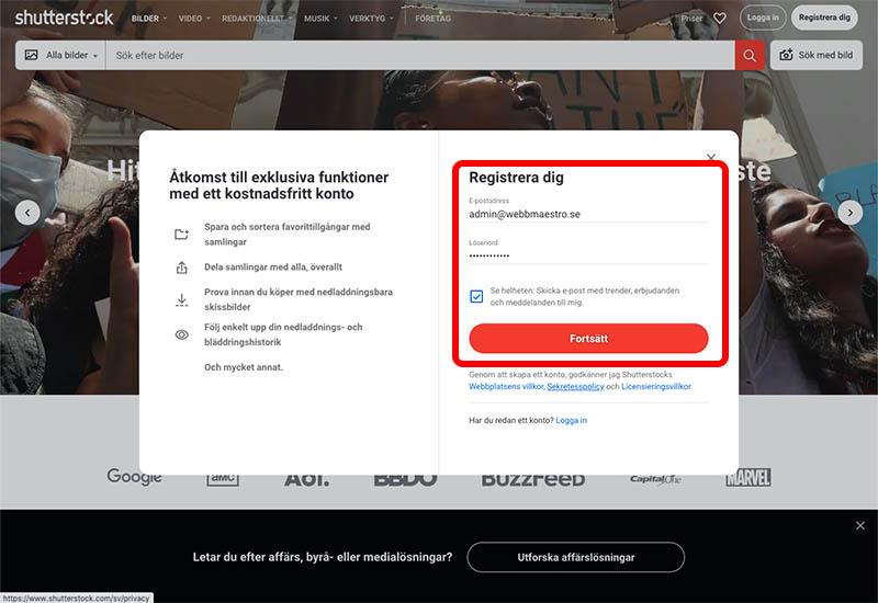 Registrera dig hos Shutterstock