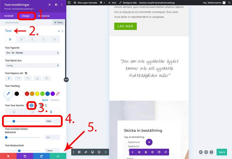 Ändra textstorleken för citatet för mobilen