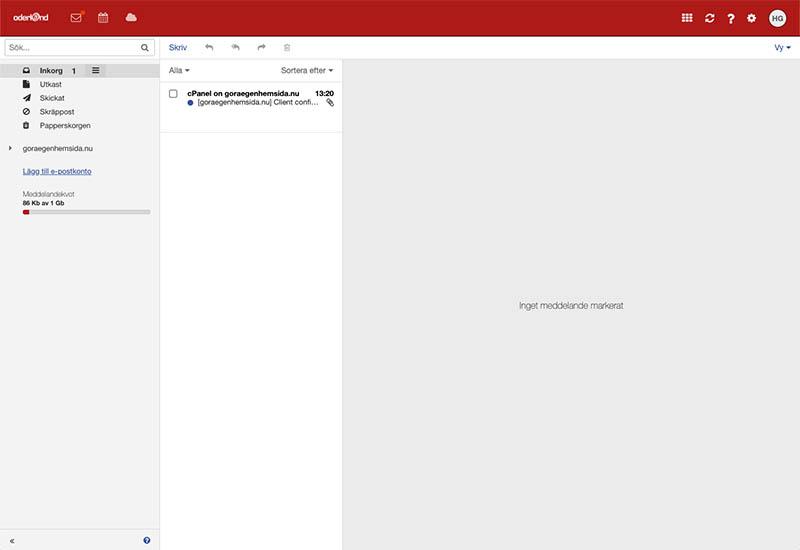 Så här ser webbmailen ut på Oderland